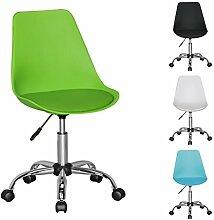 FineBuy HAINAN | Drehstuhl mit Kunstleder-Sitzfläche Grün | Drehsessel ist höhenverstellbar | Schreibtischstuhl mit Rückenlehne | Jugendstuhl mit Schalensitz