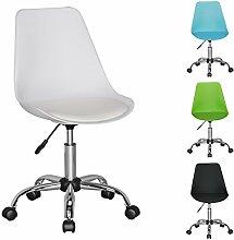FineBuy HAINAN | Drehstuhl mit Kunstleder-Sitzfläche Weiß | Design Drehsessel Wartezimmerstuhl ist höhenverstellbar | Schreibtischstuhl mit Rückenlehne | Bürostuhl / Jugendstuhl mit Schalensitz