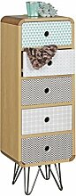 FineBuy Highboard KUUSAMO mit 5 Schubladen Retro Design Holz 30 x 90 x 25 cm | Hoch-Kommode mit Metallbeinen | Standregal-Schübe mit verschiedenen Mustern & Grifflöcher
