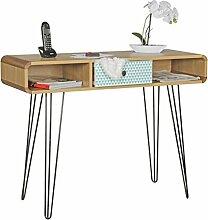 FineBuy Konsolentisch KUUSAMO mit Schublade Retro Design Holz 100 x 76 x 35 cm | Design Schreibtisch mit Metallbeinen | Anrichte mit Muster & Ablage