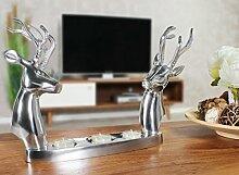FineBuy Moderner Aluminium Teelichthalter REH mit 2 Hirschköpfen Silber   Geschenkidee Alu glänzend 35 x 26 x 6 cm   Dekoartikel Kerzenhalter