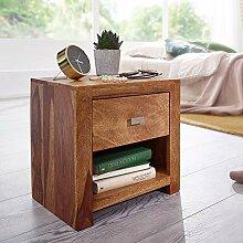 FineBuy Nachttisch aus Sheesham Massiv-Holz 40 x