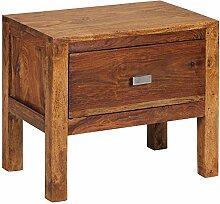FineBuy Nachttisch Massiv-Holz Sheesham