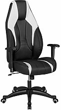 FineBuy Racing Bürostuhl VARGAS mit Armlehnen & Kopfstütze Schwarz | Schreibtischstuhl in Leder Optik | Gaming Stuhl im Racer Chair Design Chefsessel