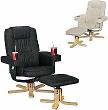 FineBuy RELAX DUO Schwarz Fernsehsessel mit Getränkehalter | TV Sessel ohne Motor drehbar mit Hocker | Relaxsessel Beige aus Kunstleder mit Armlehnen | Stuhl mit Fernbedienungshalter | Sessel mit Handyhalter