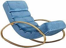 FineBuy Relaxliege Samt Blau/Gold 110 kg Belastbar