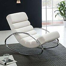 FineBuy Relaxliege Weiß Kunstleder Sessel