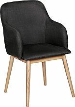 FineBuy Retro Esszimmerstuhl mit Armlehne in Stoff Bezug Anthrazit | Küchenstuhl mit Lehne & 4 Holz Beinen | Design Essstuhl einzeln - gepolster