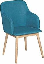 FineBuy Retro Esszimmerstuhl mit Armlehne in Stoff Bezug Petrol | Küchenstuhl mit Lehne & 4 Holz Beinen | Design Essstuhl einzeln - gepolster
