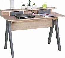 FineBuy Schreibtisch 120 cm | Design Büro-Tisch in Sonoma Eiche / Grau | Moderner Computer-Tisch mit 2 Schubladen und Stauraum | Platzsparender Computer-Schreibtisch für Laptop geeigne