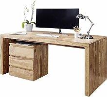 FineBuy Schreibtisch Massiv-Holz Akazie