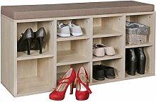 FineBuy Schuhbank LUISA 10 Paar Schuhe Schuhschrank Sonoma Eiche Flur 103,5 x 53 x 30 cm | Sitzbank Flur mit Polster Sitzauflage | Schrank Flur-Bank Regal Garderobe | Garderobenbank