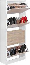 FineBuy Schuhkipper mit 4 Fächern für 24 Paar Schuhe | Moderner Schuhschrank in Sonoma Eiche Weiß | Schuhkommode 60 x 24 x 150 cm