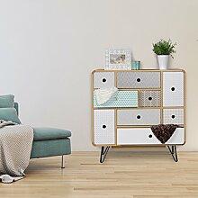 FineBuy Sideboard KUUSAMO mit 9 Schubladen Retro Design Holz 80 x 80 x 40 cm | Kommoden-Schübe mit verschiedenen Mustern & Grifflöcher | Anrichte Metallbeine