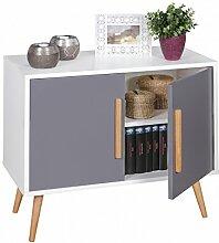 FineBuy Sideboard mit 2 Türen Skandinavisches Retro Design 80 x 70 x 40 cm | SCANIO Weiß Grau | Kommode - Holz Griffe & Beine Eiche