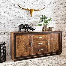 FineBuy Sideboard Sheesham Massiv Holz 160 x 80 x