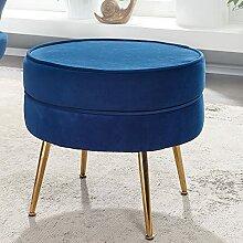 FineBuy Sitzhocker Samt Blau 51x46x51 cm
