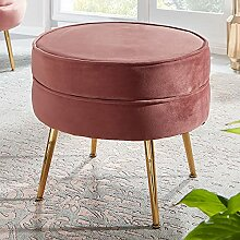 FineBuy Sitzhocker Samt Pink 51x46x51 cm