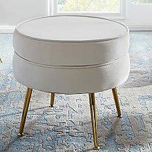 FineBuy Sitzhocker Samt Weiß 51x46x51 cm
