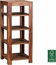 FineBuy Standregal Massiv-Holz Sheesham 105 cm Wohnzimmer-Regal mit 4 Ablagefächer Design Landhaus-Stil Beistelltisch Natur-Produkt Wohnzimmermöbel Unikat modern Massivholzmöbel Echtholz Anstelltisch