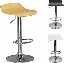 FineBuy TOKYO | Barhocker mit 360° drehbarer Sitzfläche aus Holz | Hocker ist höhenverstellbar | Design Barstuhl mit Fußstütze | Tresenstuhl ist verstellbar | Silberfarbenes Chromgestell