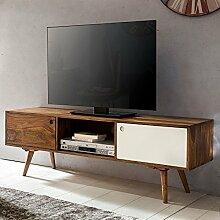 FineBuy TV Lowboard 140 cm Massiv-Holz Sheesham