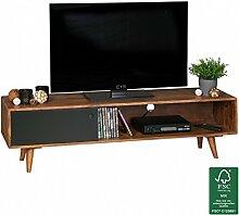 FineBuy TV Lowboard Sheesham Massivholz mit 1 Tür 140 x 40 x 35 cm | TV Hifi Regal im Retro-Design | Fernsehschrank TV-Board in dunkelbraun / schwarz