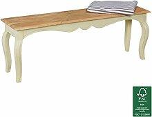 FineBuy Vintage Esszimmerbank massiv 120 x 45 x 35 cm | Moderne Sitzbank aus Mango Massivholz | Opium Küchenbank rechteckig in Weiß Holz | Massivholzbank mit 4 Beinen - Französischer Landhausstil