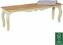 FineBuy Vintage Esszimmerbank massiv 140 x 45 x 35 cm | Moderne Sitzbank aus Mango Massivholz | Opium Küchenbank rechteckig in Weiß Holz | Massivholzbank mit 4 Beinen - Französischer Landhausstil