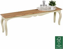 FineBuy Vintage Esszimmerbank massiv 160 x 45 x 35 cm | Moderne Sitzbank aus Mango Massivholz | Opium Küchenbank rechteckig in Weiß Holz | Massivholzbank mit 4 Beinen - Französischer Landhausstil
