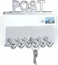 FineBuy Wandgarderobe POST Garderobenhaken mit Brief-Ablage und Schlüsselbrett 20 cm Aluminium Garderoben-Paneel 6 Haken Design Schlüsselboard Deko Flur-Möbel Garderobenleiste Briefhalter für Diele