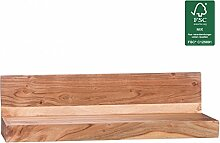 FineBuy Wandregal Massiv-Holz Akazie Holzregal 60