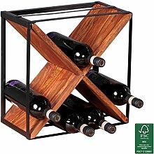 FineBuy Weinregal Massiv-Holz Flaschenregal Design Standregal für ca. 16 Flaschen mit Metallrahmen Holzregal X-Form