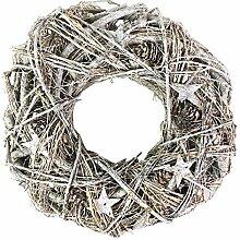 FineHome Adventskranz geschmückt weiß Ø 40cm