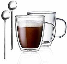 FineTess Glas-Kaffeetassen, 354 ml, doppelwandig,