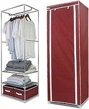 Finether Faltschrank Stoffschrank Textilschrank mit Kleiderstange und 2 Schubladen Faltkleiderschrank Stoffkleiderschrank Textilkleiderschrank faltbarer Kleiderschrank aus stoff für Schlafzimmer Camping stabil schmal 165 x 60 x 45cm ro