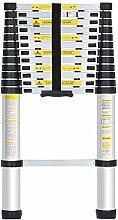 Finether Teleskopleiter, tragbar, Aluminium, 13Sprossen, maximales Traggewicht 150kg, Multifunktions-Sprossenleiter 84cm bis 3.8m.