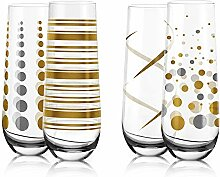 Fineway Champagnergläser, Stiellos, mit