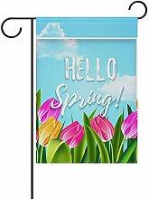fingww Yard Banner Hallo Frühlingsblumenblumen