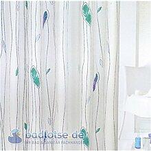 FINJA Duschvorhang PEVA 180 x 200 cm weiß/blau/türkis marineblau grün Blätter