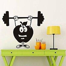 Finloveg Apple Hantel Cartoon Gym Wandtattoo Sport