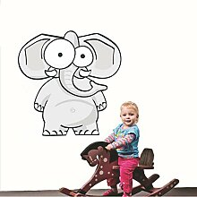 Finloveg Cartoon Elefant Vollfarbe Wandkunst