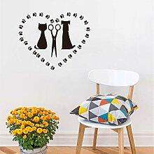 Finloveg Katze Und Hund Salon Vinyl Wandaufkleber