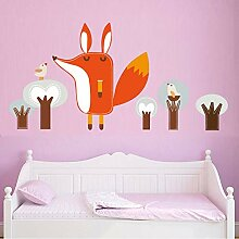 Finloveg Wald Tier Fox Kaninchen Wandtattoo