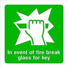Fire Break Glass Schlüssel HSE Schild Gesundheit