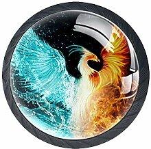 Fire Water Phoenix Bird Schubladenknopf mit