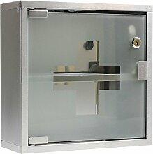 FirstAid Medizinschrank / Arzneischrank im klassischen Design, Medikamentenschrank aus rostfreiem Edelstahl, Maße: 30 x 30 x12 cm