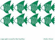 Fisch Fische, 8 cm (15 x 15 cm), Farbe: grün Badezimmer Childs Schlafzimmer Kind-Raum-Aufkleber Auto Vinyl, Fenster und Wand-tattoo/aufkleber Wand Windows-ThatVinylPlace Wandtattoo Ar