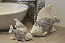 Fisch Prime Keramik in weiß/silber glasiert Bad Dekoration Badezimmerdekoration