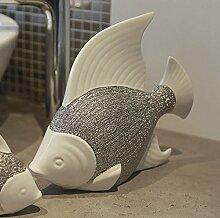 Fisch Prime Keramik in weiß/silber glasiert Bad